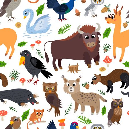 Wild Europe animals seamless pattern in flat style Ilustracja