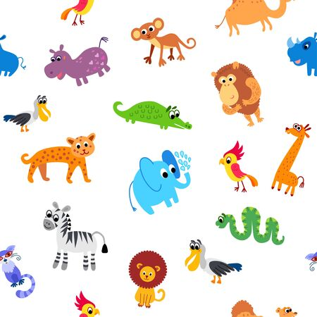Wild Africa animals seamless pattern in flat style Ilustración de vector