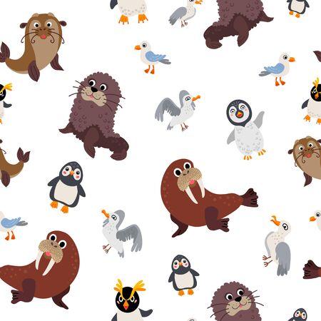 Wild South Pole animals pattern in flat style Ilustracja