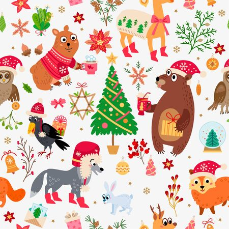 A Christmas forest animals pattern. Winter vector