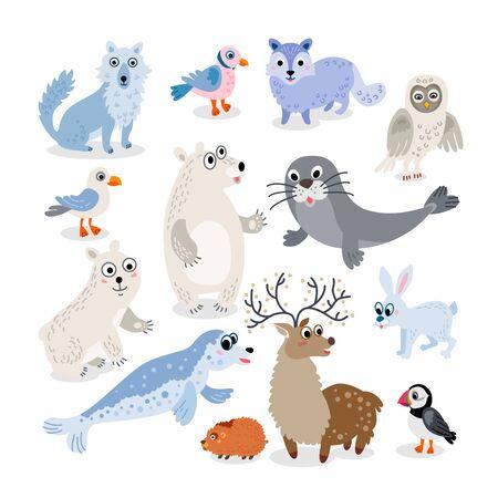 Wild North Pole animals flat style set