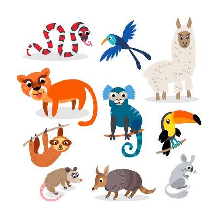 Wild South America animals set in flat style Ilustración de vector
