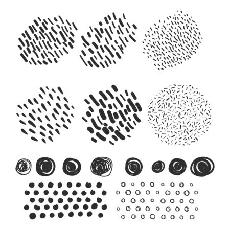 Vector set hand drawn scribbles with brush strokes