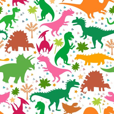 Childish pattern with silhouettes a cute dinosaurs
