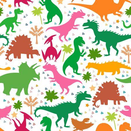 Patrón infantil con siluetas de lindos dinosaurios.