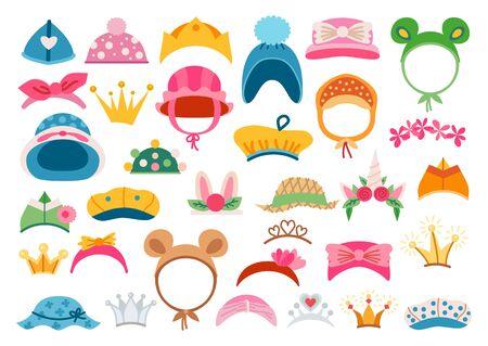 Bright headwear icon set. Stylish kids hats.