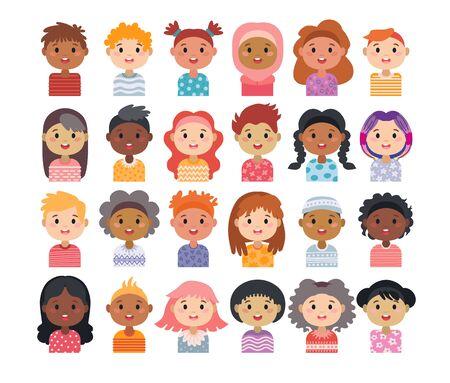 Set of avatars of children characters. Kids