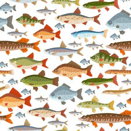 Wzór bez szwu ryb słodkowodnych. Owoce morza wektor