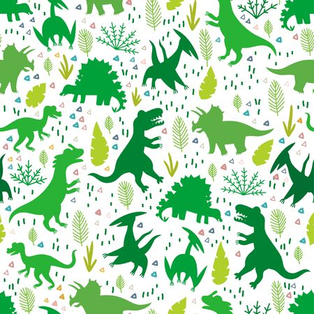 Childish pattern with silhouettes a cute dinosaurs Vectores