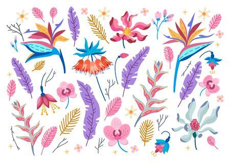 Sammlung tropischer Blumen. Vektor-Cartoon-Regenwald florale Elemente isoliert auf weißem Hintergrund. Brasilien-Dschungelflora im flachen Stil. Sommer-Blumenstrauß aus tropischen Blumenblättern. Aloha-Set. Vektorgrafik