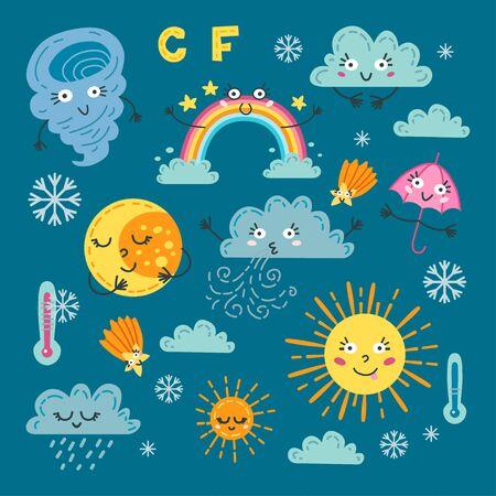 Cute weather set. A forecast meteorology symbols