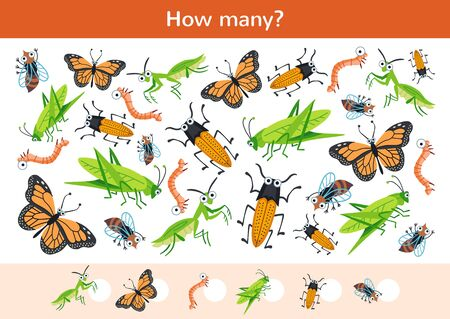 Counting children game of a cartoon beetles.