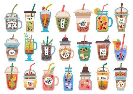 Collection of fruit drinks, smoothies. Bubble tea Ilustración de vector