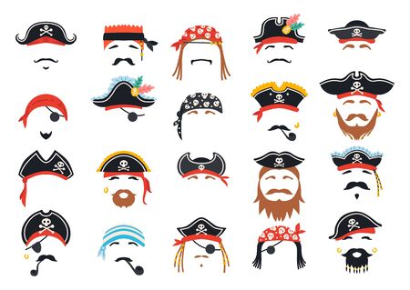 Carnival pirate mask decor. Photo booth props Çizim