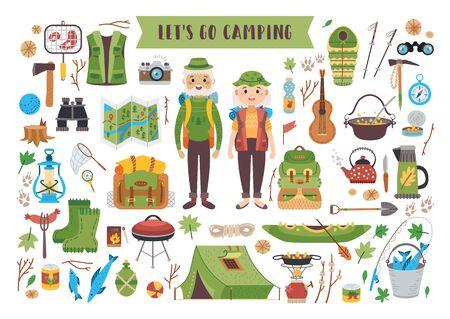 Camping equipment set. A vector tourist theme.