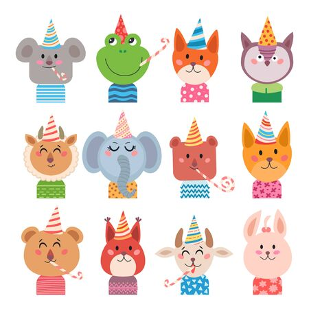 Set of cartoon animals for baby card Иллюстрация