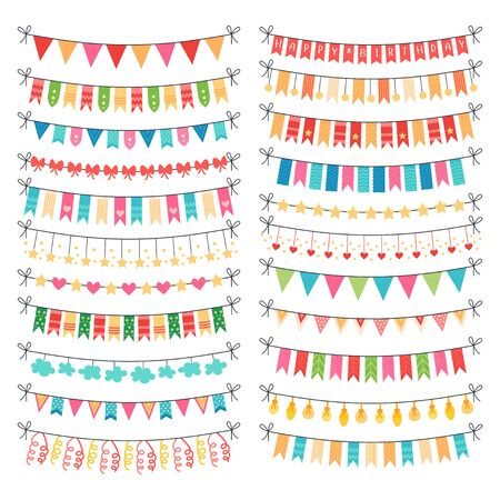 Colorful vector bunting and garland set isolated
