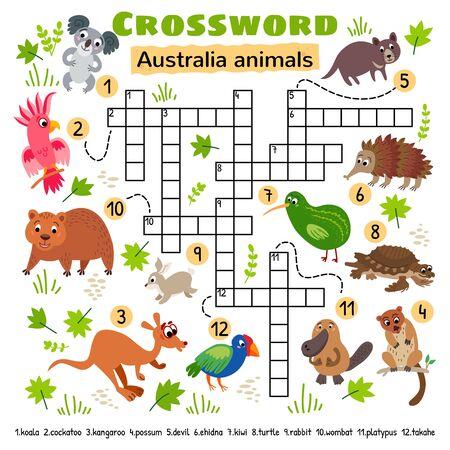 Australia animals crossword. Game for little kids