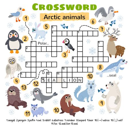 Arctic animals crossword. Game for preschool kids