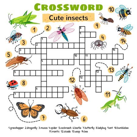 Cute insects crossword. Game for preschool kids