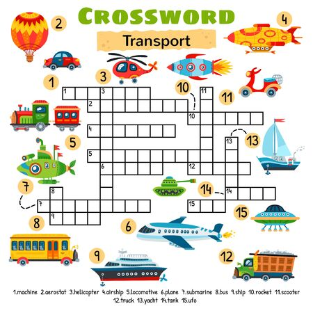 Transport toy crossword. Game for preschool kids