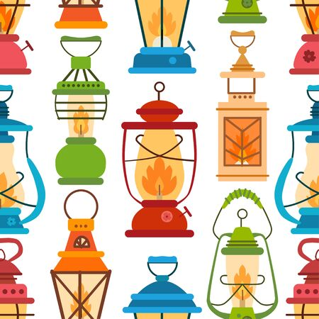 Camping lantern pattern in flat style. Vector