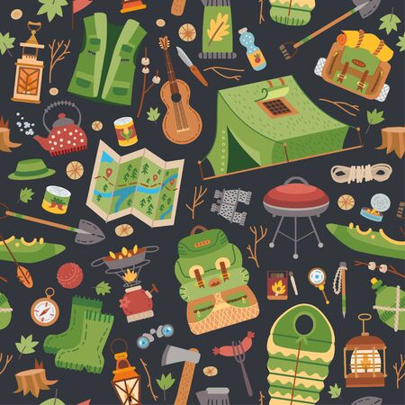 Camping equipment pattern. A vector tourist theme.