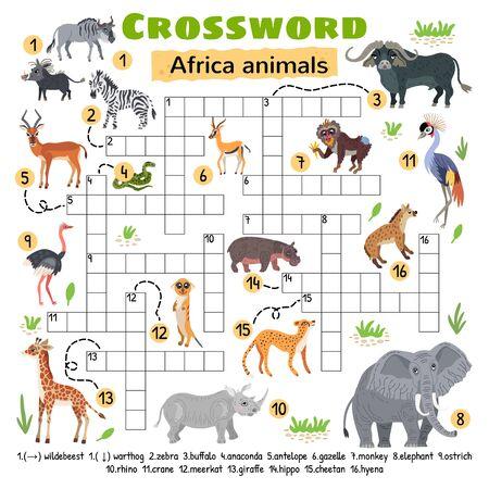 Africa animals crossword. Game for preschool kids