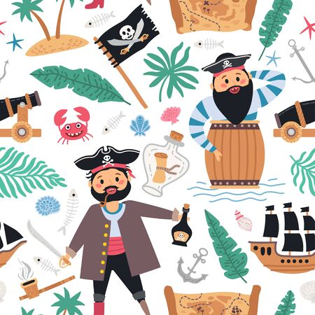 Seamless retro pirates background for baby boy Vettoriali
