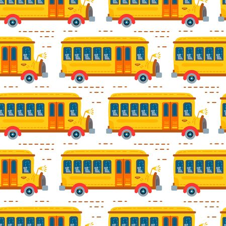 Seamless school bus background for baby boy Vettoriali