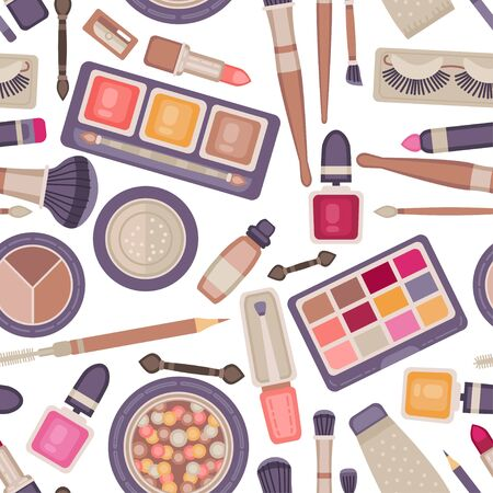 Face make up tools seamless pattern. Vector