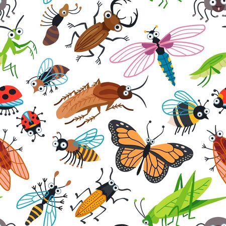 Seamless vector cute beetles pattern for kids