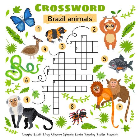 Brazil animals crossword. Game for preschool kids