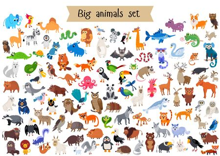 Vector flat style big set of animals isolated Illustration