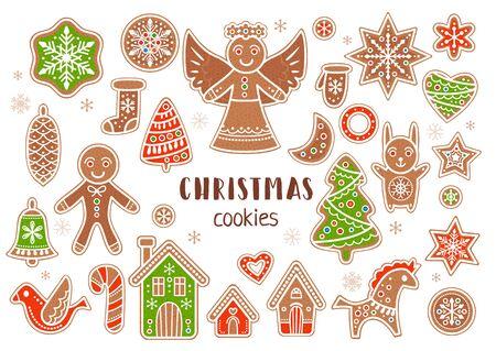 Vector set of cartoon style christmas cookies Ilustrace
