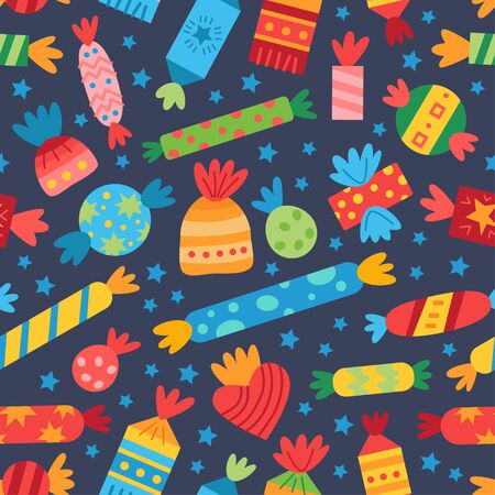 Pattern with colorful sweets candy. For birthday party. Design concept for holidays greeting cards, festival decoration, gift card. Vector party backdrop Ilustracja