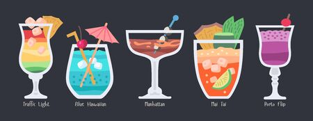 Alcoholic fruit cocktails collection. Beach summer party drinks isolated on dark background.