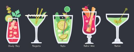 Alcoholic fruit cocktails set. Beach party drinks  イラスト・ベクター素材