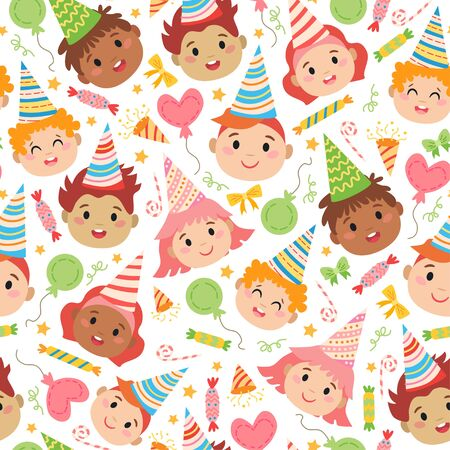 Kids faces with birthday caps pattern. For party. Design concept for holidays greeting cards, festival decoration, gift card. Vector party backdrop