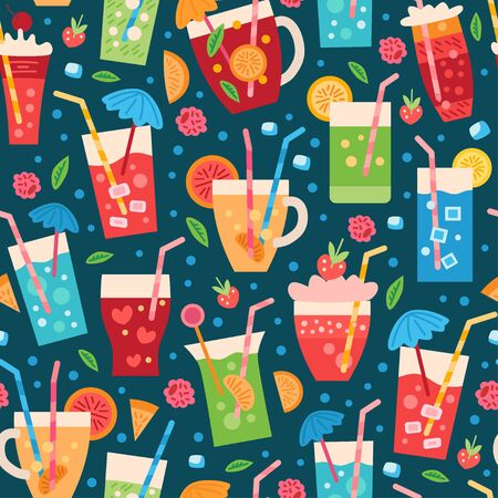 A seamless drinks pattern. Summer tropic vector backdrop with fruit cocktail 向量圖像
