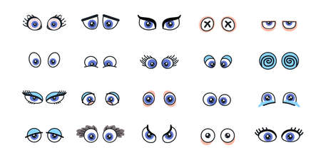 Set of monster eyes in different poses.