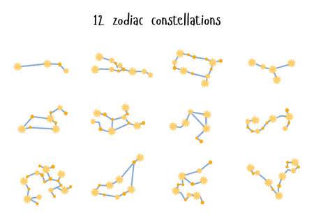 Vector Set of 12 zodiac constellations. Flat style  イラスト・ベクター素材