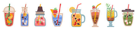 Set with delicious detox drinks on white