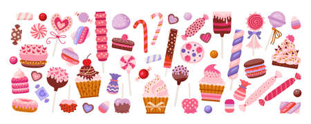 Valentine day sweets set isolated in white  イラスト・ベクター素材