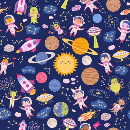 Seamless pattern cute space background for baby Vectores