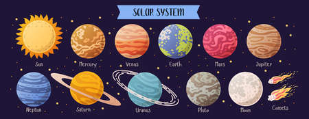 Set of realistic solar system planets isolated  イラスト・ベクター素材