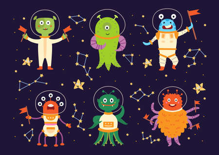 Monster aliens in space suits. Cartoon characters
