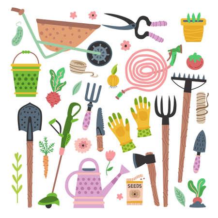 Garden tools set. Vector flat gardening equipment  イラスト・ベクター素材