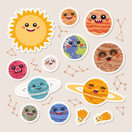 Big set of cute cartoon planets stickers.