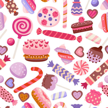 Valentine day sweet pattern with different cupcake